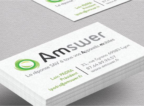 amswer, logo, carte de visite,identité visuelle, graphiste freelance