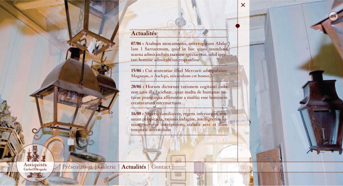 Carles et bergada, antiquaire, site internet, univers graphique, graphiste freelance