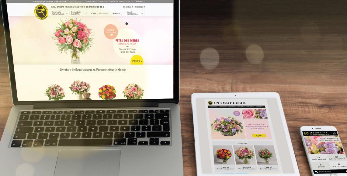 interflora, pages, site internet, bannière, graphiste freelance