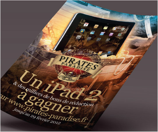univers graphique, annonce presse, Pirates Paradise, graphiste freelance