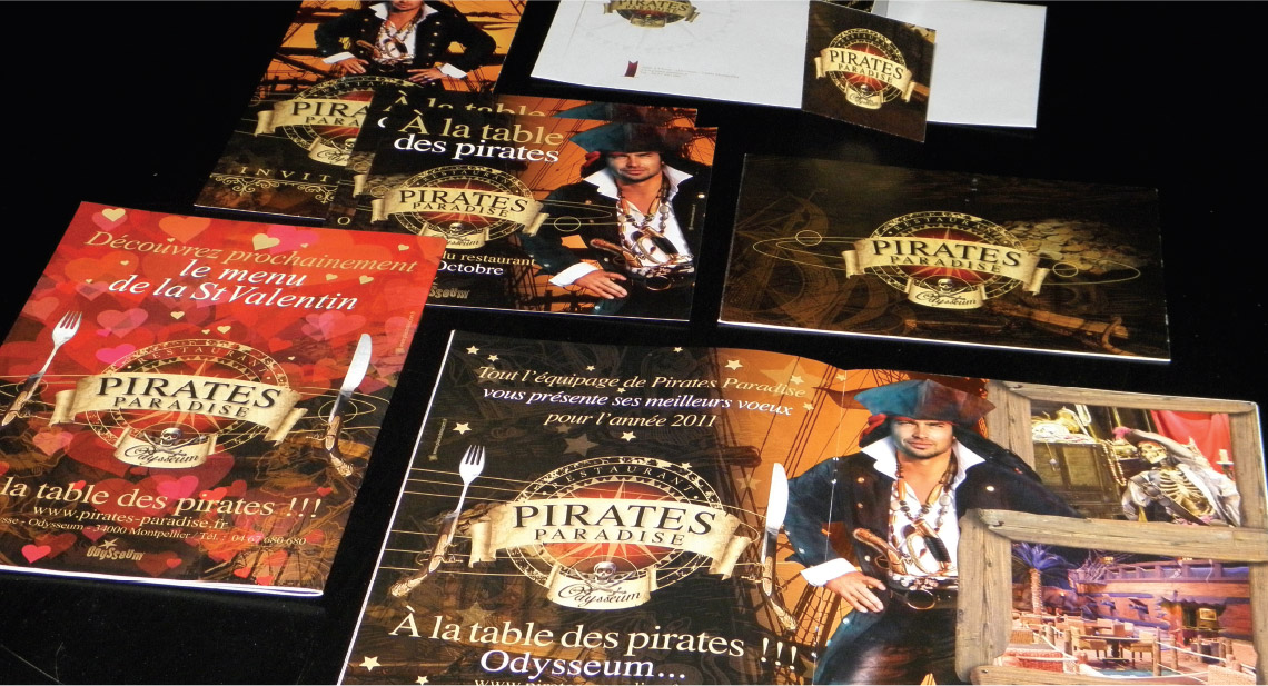 univers graphique, menus, flyers, annonce presse, papeterie, Pirates Paradise, graphiste freelance