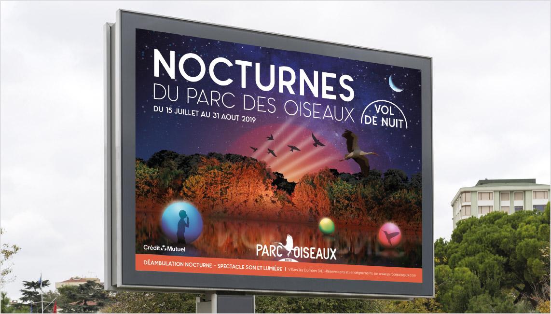 affiche, nocturnes, 2019, parc des oiseaux